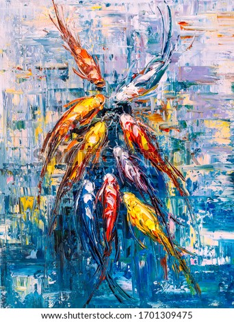 Oil Painting - Koi fishes gather together