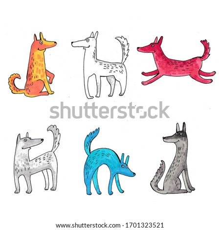 sketch with different dogs, collection of Pets
