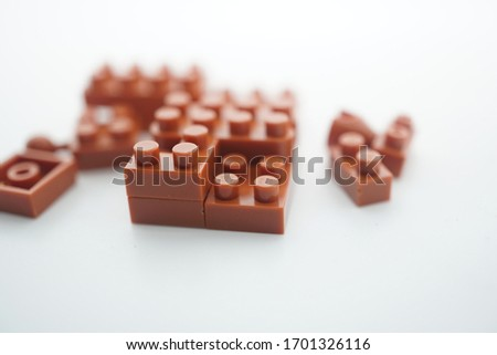 the close up of unfinish puzzle brick, capture by macro lens in with bacground  #1701326116