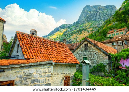 Old buildings with red-orange roofs in Kotor in Montenegro #1701434449