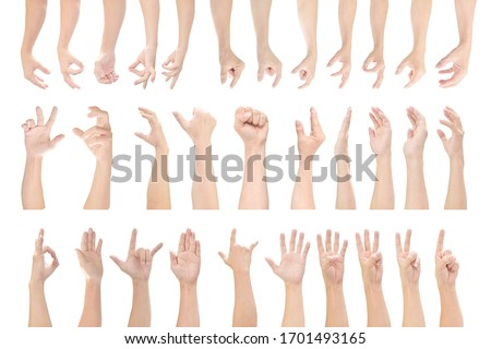 Multiple set of male hands gestures isolated on white background. with clipping path. Royalty-Free Stock Photo #1701493165