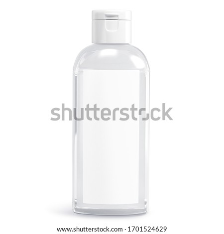 Сlear white cosmetic bottle isolated on white background. Hand sanitizer bottle. Antimicrobial liquid gel. Hand hygiene. Shampoo bottle. 3D rendering #1701524629