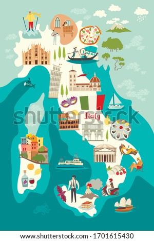 Italy map vector. Illustrated map of Italy for children/kid #1701615430