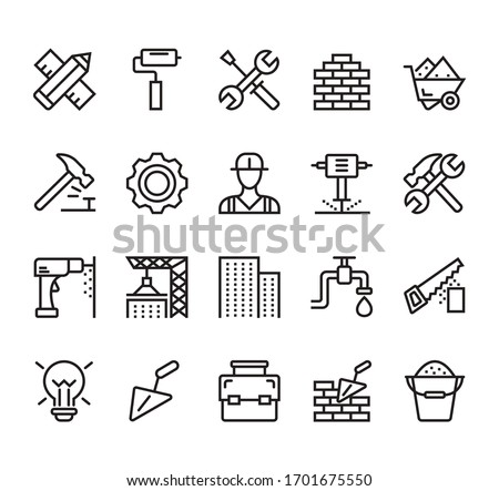 Building and construction simple line isolated icon set collection. Vector flat graphic design illustration Royalty-Free Stock Photo #1701675550