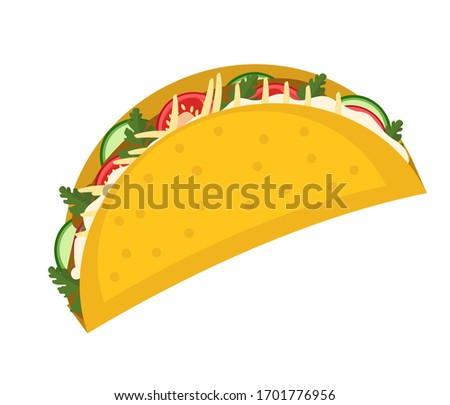 Tacos icon flat, cartoon style isolated on white background. illustration, clip art. Traditional Mexican food.