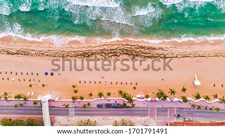 Aerial view on coast line, Atlantic ocean waves and public beach at Florida, United States. Drone Beach Landscape. #1701791491