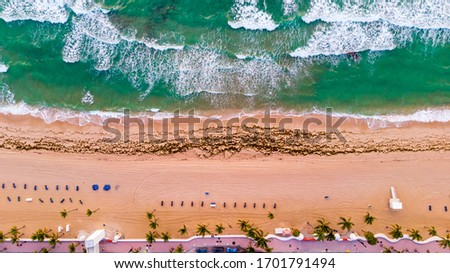 Aerial view on coast line, Atlantic ocean waves and public beach at Florida, United States. Drone Beach Landscape. #1701791494