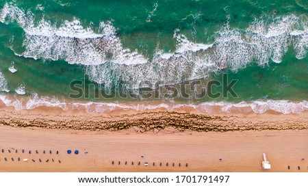 Aerial view on coast line, Atlantic ocean waves and public beach at Florida, United States. Drone Beach Landscape. #1701791497