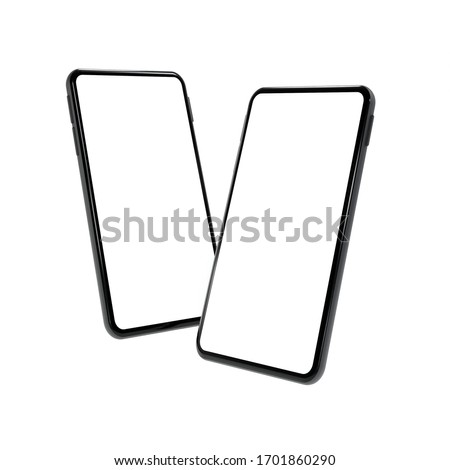 Realistic mock-up smart phone empty screen 3D rendering  isolated on white background 2 positions. clipping path