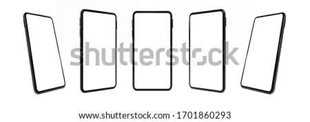 Realistic mock-up smart phone empty screen 3D rendering  isolated on white background 6 positions. clipping path