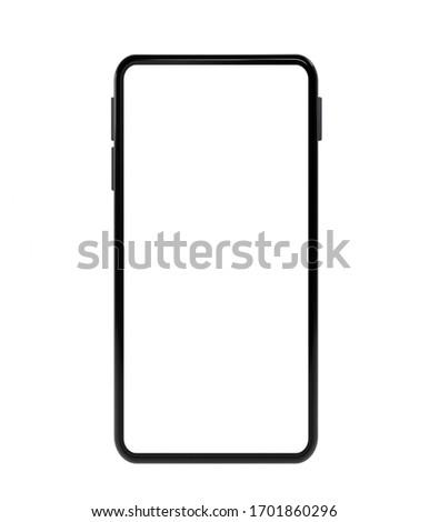 Realistic mock-up front of smart phone empty screen 3D rendering  isolated on white background . clipping path