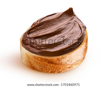 Slice of bread with chocolate cream with hazelnut isolated on white background with clipping path Royalty-Free Stock Photo #1701860971