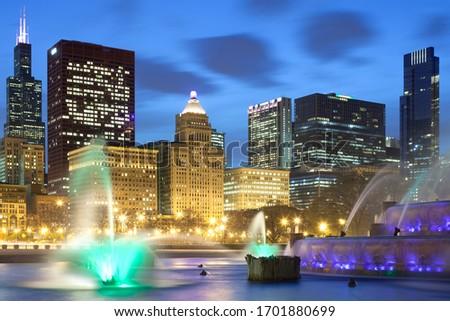 Downtown city skyline at dusk, Chicago, Illinois, United States #1701880699