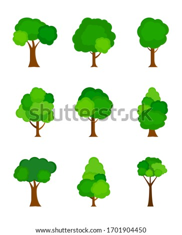 Flat tree silhouette colored isolated on white background. Vector Illustration. EPS10 #1701904450