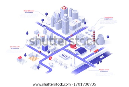 Isometric map of metropolis city with paper white downtown skyscrapers, suburban houses, industrial buildings, power plants, streets, river, bridge. Infographic design template. Vector illustration. Royalty-Free Stock Photo #1701938905
