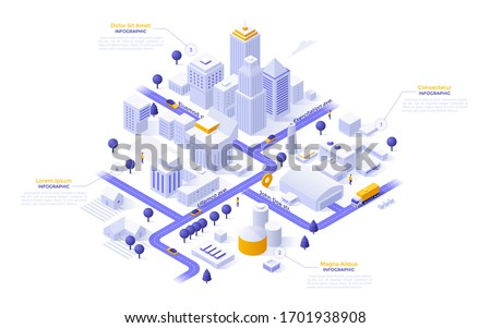Isometric map of city downtown or business district, industrial zone and suburban area with paper white buildings, houses and skyscrapers. Modern infographic design template. Vector illustration. Royalty-Free Stock Photo #1701938908