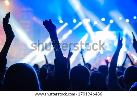 Fans at live rock music concert cheering musicians on stage, back view #1701946486