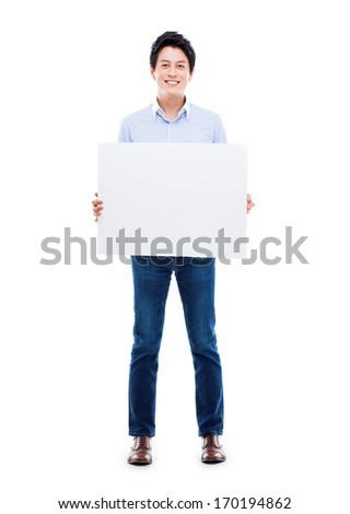 Asian young man showing pannel isolated on white background.  #170194862