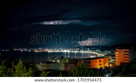 breathtaking thunderstorm picture of beautiful Albania during a vacation
