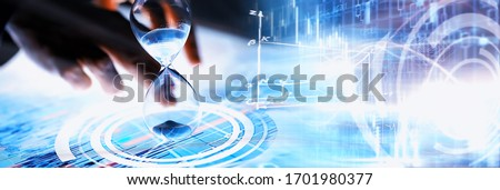 Business concept. Information technology and data processing. Hands over the screen graphic data. A modern software product in business. #1701980377