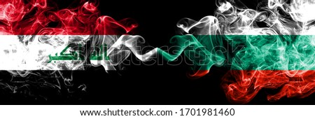 Iraq, Iraqi vs Bulgaria, Bulgarian smoky mystic flags placed side by side. Thick colored silky smokes flags together