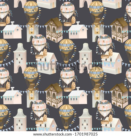 Seamless pattern of cute pink houses, bavarian houses and retro hot air balloons in the sky, hand painted on a dark background