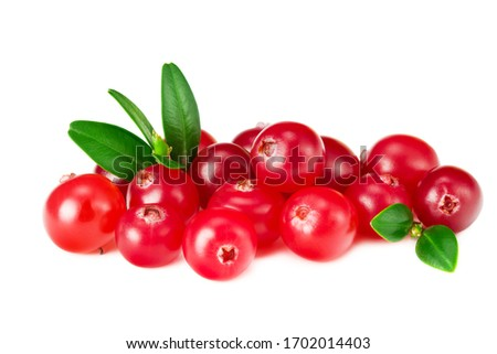Cranberry with green leaves isolated on white background #1702014403