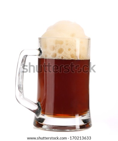 Tall big mug of brown beer with foam. Isolated on a white background. #170213633