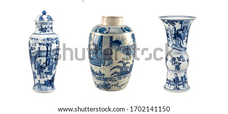 Chinese vases with blue decor on a white background #1702141150
