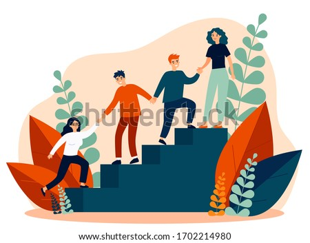 Happy young employees giving support and help each other flat vector illustration. Business team working together for success and growing. Corporate relations and cooperation concept. Royalty-Free Stock Photo #1702214980