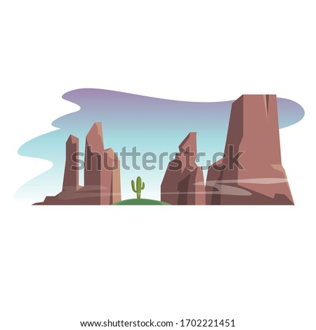 two desert mountains and cactus #1702221451
