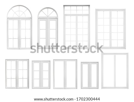 Real vintage house window frame set collection isolated on white background Royalty-Free Stock Photo #1702300444