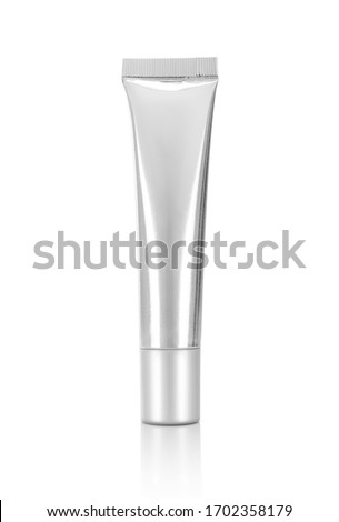 3d illustration of blank packaging silver metallic tube isolated on white background with clipping path ready for cosmetic product design mock-up