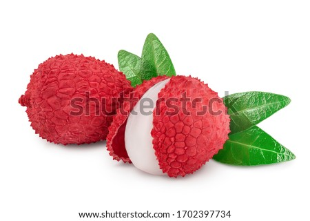 lychee fruit isolated on white background with clipping path and full depth of field #1702397734