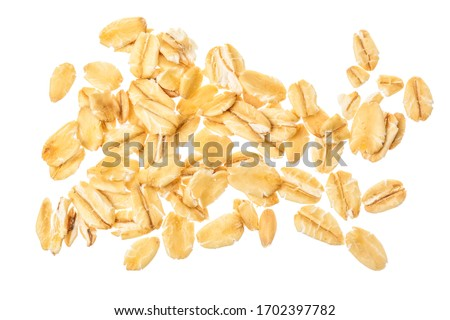oat flakes isolated on white background. Top view #1702397782