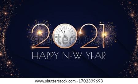 Happy new 2021 year! Elegant gold text with fireworks, clock and light. Minimalistic text template. Royalty-Free Stock Photo #1702399693