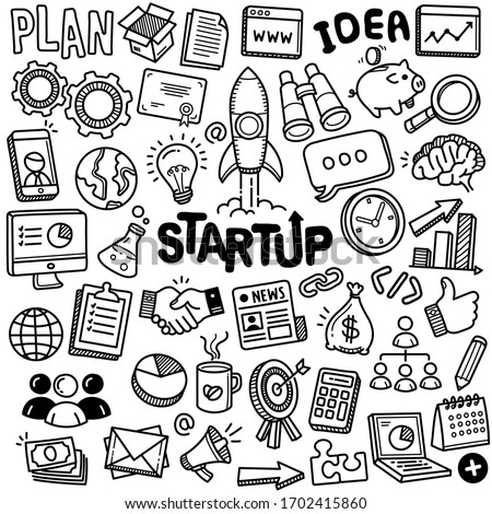 Set of vector doodle element related to startup. Set of hand drawn fresh tech company symbols and icons. #1702415860