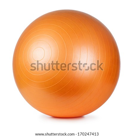 Close up of an orange fitness ball isolated on white background #170247413