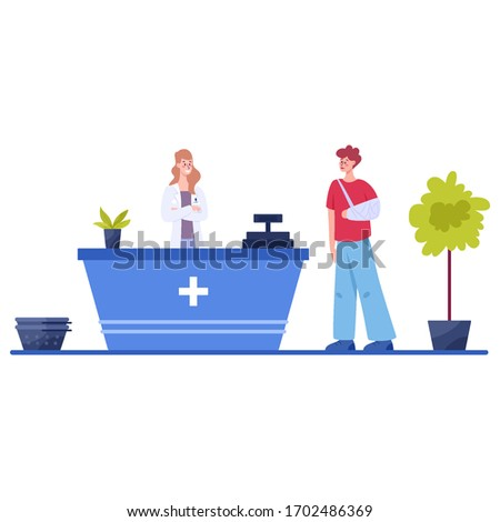 Modern pharmacy interior with visitor. Client order and buy medicaments and drugs. Pharmacist standing at the counter in the uniform. Healthcare and medical treatment concept. Vector illustration #1702486369