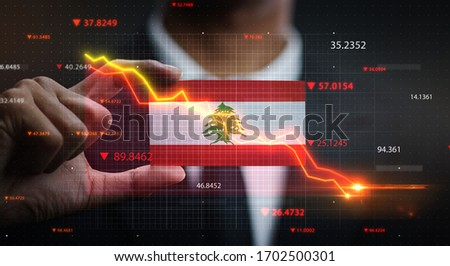 Graph Falling Down in Front Of Lebanon Flag. Crisis Concept Royalty-Free Stock Photo #1702500301
