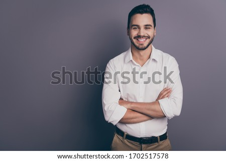 Photo of young macho business man employer meet colleagues corporate seminar friendly smiling arms crossed wear white office shirt pants isolated grey color background Royalty-Free Stock Photo #1702517578