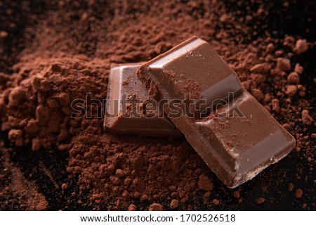 close-up shot of a few ounces of chocolate on cocoa powder. Dark background. #1702526518