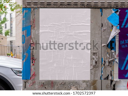 White wrinkled poster template. Glued paper mockup. Blank wheatpaste on textured wall. Empty street art sticker mock up. Clear urban glued advertising canvas. #1702572397