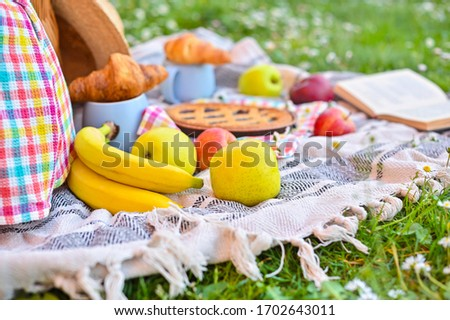 Picnic basket on a plaid and a green meadow with flowers. Lunch sweet cake, croissants, drinks, fruits in the park on the green grass. Summer picnic background concept. Copy space.Close-up
