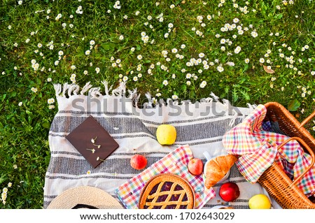 Picnic basket on a plaid and a green meadow with flowers.Lunch sweet cake, croissants, drinks, fruits in the park on the green grass. Summer picnic background concept. Above, Copy space.