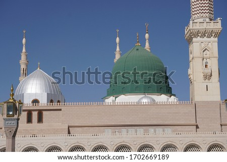 The green dome on the top of tomb prophet Muhammad at madina mosque the second holly mosque in islam  #1702669189