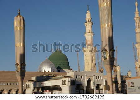 The green dome on the top of tomb prophet Muhammad at madina mosque the second holly mosque in islam  #1702669195