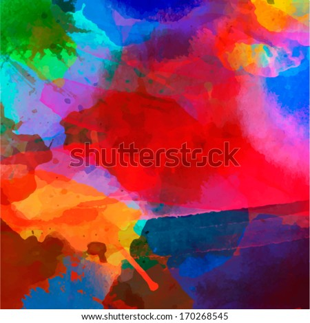 Abstract watercolor palette of  blue colors, mix color, background,vector illustration,a mixture of colors, stains with a spray of water colors, the author's work.