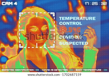 Simulation of body temperature check by thermoscan or infrared thermal camera for against epidemic flu covid19 or corona virus Royalty-Free Stock Photo #1702687159