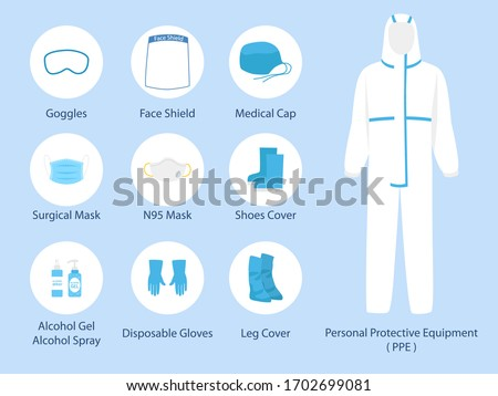Set of PPE personal protective suit Clothing isolated and Safety Equipment for prevent Corona virus, doctor wearing Personal Protective Equipment.Work safety Royalty-Free Stock Photo #1702699081
